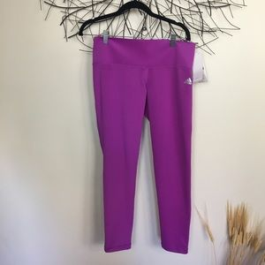 New adidas athletic leggings. Purple. Mid rise.